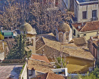 Domes and roofs at Plaka, Athens under Acropolis Royalty Free Stock Photography
