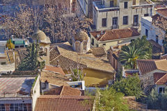 Domes and roofs at Plaka, old Athens center under Acropolis,  Greece Stock Photo