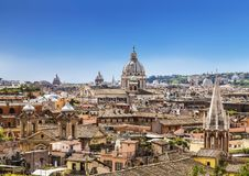 The domes and rooftops of the eternal city, the view from the Spanish steps. Rome Royalty Free Stock Photos
