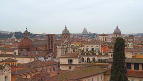 Domes and rooftops of the historic center of Rome. View from Capitol Hill stock video footage