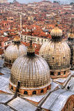 Domes and rooftops, Venice. View over domes and rooftops in Venice stock images