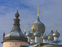 Domes of the Rostov Kremlin. In the winter against the sky with easy clouds Stock Images
