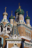 Domes of Russian Orthodox Church. In Nice, France Royalty Free Stock Photos