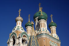 Domes of Russian Orthodox Church. In Nice, France Royalty Free Stock Photography