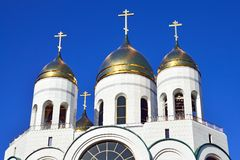 Domes of Russian Orthodox Church. Cathedral of Christ the Savior. Kaliningrad, Russia Stock Image