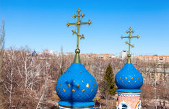 Domes of Russian orthodox church with cross Stock Image