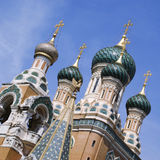 Domes of Russian Orthodox Church. In Nice, France Stock Photography