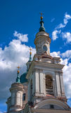 The domes of the Russian Orthodox church. Yamburg cathedral of St. Catherine in the city of Kingisepp. It was built in Stock Photos