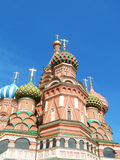 Domes of the Saint Basil's Cathedral (Pokrovsky Cathedral). Saint Basil's Cathedral (Pokrovsky Cathedral) in Red Square in Moscow.May, 2015 Stock Photo