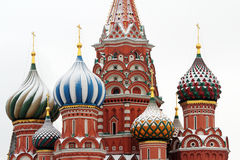 Domes of Saint Basils Cathedral in winter. Royalty Free Stock Image