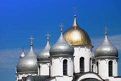 Domes Saint Sophia cathedral in Kremlin, Great Novgorod Stock Images