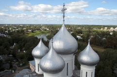Domes of the Saint Sophia Cathedral a Russian Orthodox cathedral, the oldest surviving stone building in the city. Summer scene from around Vologda, Russia royalty free stock photos