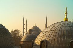 Domes of Saint Sophie Cathedral from Saint Sophie Istanbul Turkey. Domes of Saint Sophie Cathedral and Blue Mosque from Saint Sophie Istanbul Turkey Royalty Free Stock Image