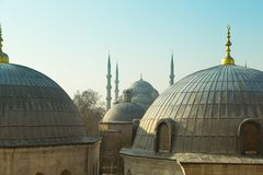 Domes of Saint Sophie Cathedral from Saint Sophie Istanbul Turkey. Domes of Saint Sophie Cathedral and Blue Mosque from Saint Sophie Istanbul Turkey Royalty Free Stock Photos