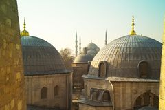 Domes of Saint Sophie Cathedral from Saint Sophie Istanbul Turkey. Domes of Saint Sophie Cathedral and Blue Mosque from Saint Sophie Istanbul Turkey Royalty Free Stock Photography