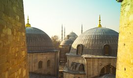 Domes of Saint Sophie Cathedral from Saint Sophie Istanbul Turkey. Domes of Saint Sophie Cathedral and Blue Mosque from Saint Sophie Istanbul Turkey Stock Photo