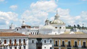 The domes of Santo Domingo Church in the city of Quito in Ecuador, South America stock photos