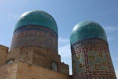 Domes of shakhizinda. Tiled domes of the shakhizinda mausoleum complex, samarkand, uzbekistan royalty free stock photos
