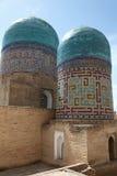 Domes of shakhizinda. Tiled domes of the shakhizinda mausoleum complex, samarkand, uzbekistan royalty free stock photo