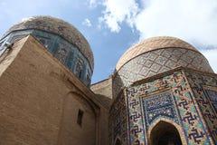 Domes of shakhizinda. Tiled domes of the shakhizinda mausoleum complex, samarkand, uzbekistan stock images