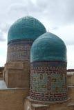 Domes of shakhizinda. Tiled domes of the shakhizinda mausoleum complex, samarkand, uzbekistan royalty free stock images