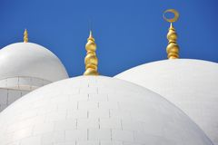 Domes of Sheikh Zayed Mosque in Abu Dhabi Royalty Free Stock Photo