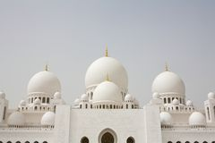Domes of Sheikh Zayed Mosque in Abu Dhabi, Royalty Free Stock Photography