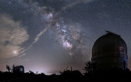 Domes of small telescopes in an observatory in the background of. The milky way royalty free stock photo