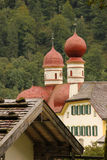 Domes of St Bartholoma Church. Konigssee. Germany Royalty Free Stock Images