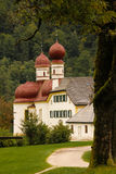 Domes of St Bartholoma Church. Konigssee. Germany Royalty Free Stock Photo