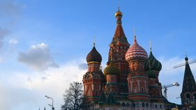 St. Basil`s Cathedral. Moscow. Russia. Domes of St. Basil`s Cathedral against the sky. Architecture of Moscow Stock Photos