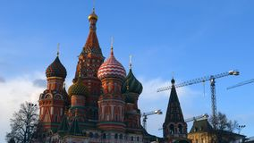 St. Basil`s Cathedral. Moscow. Russia. Domes of St. Basil`s Cathedral against the sky. Architecture of Moscow Royalty Free Stock Photography
