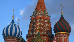 St. Basil`s Cathedral. Moscow. Russia. Domes of St. Basil`s Cathedral against the sky. Architecture of Moscow Royalty Free Stock Image