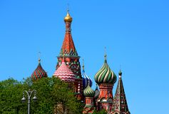 Domes of St. Basil`s Cathedral in Moscow Royalty Free Stock Image