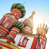 Domes of St. Basil's cathedral in Moscow Stock Image