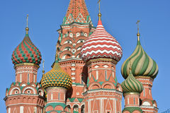 Domes of St. Basil's Cathedral on red square in Moscow. Stock Photography