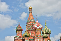 Domes of St. Basil's Cathedral on red square in Moscow. Royalty Free Stock Images