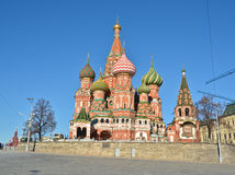 Domes of St. Basil's Cathedral on red square. Stock Photography