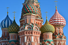 Domes of St. Basil's Cathedral on red square. Royalty Free Stock Photography