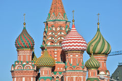 Domes of St. Basil's Cathedral on red square. Stock Photos
