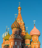 Domes of St. Basil's Cathedral on red square. Moscow, Russia - February 18, 2016: Domes of St. Basil's Cathedral on red square Stock Photography