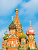 Domes of St. Basil's Cathedral on red square. Moscow, Russia - February 21, 2016: Domes of St. Basil's Cathedral on red square Stock Photos