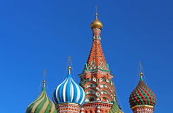 Domes of St. Basils cathedral in Moscow, Russia Stock Images