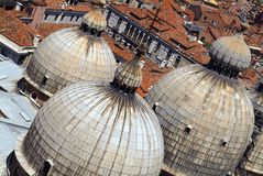 Domes of St Marks Basilica. From the bell tower Stock Photo