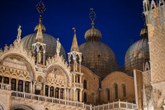 Domes of St. Marks Cathedral at night in Venice, Italy Stock Photography