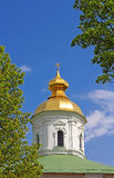 Domes of St. Michael Cathedral of Vydubychi Monastery, Kyiv Stock Images
