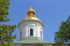 Domes of St. Michael Cathedral of Vydubychi Monastery, Kyiv Stock Photos