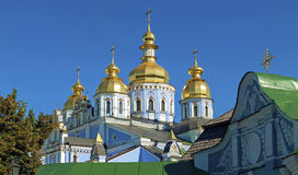 Domes of St. Michael's Monastery in Kiev. Ensemble domes of St. Michael's Monastery in Kiev Royalty Free Stock Images