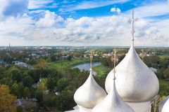 Domes of St. Sophia Cathedral of Vologda Kremlin, Russia. Domes of St. Sophia Cathedral of Vologda Kremlin Royalty Free Stock Photography