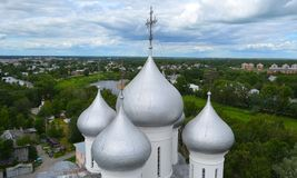 Domes of St. Sophia Cathedral of Vologda Kremlin Russia. View of the domes of St. Sophia Cathedral of Vologda Kremlin Russia royalty free stock photos